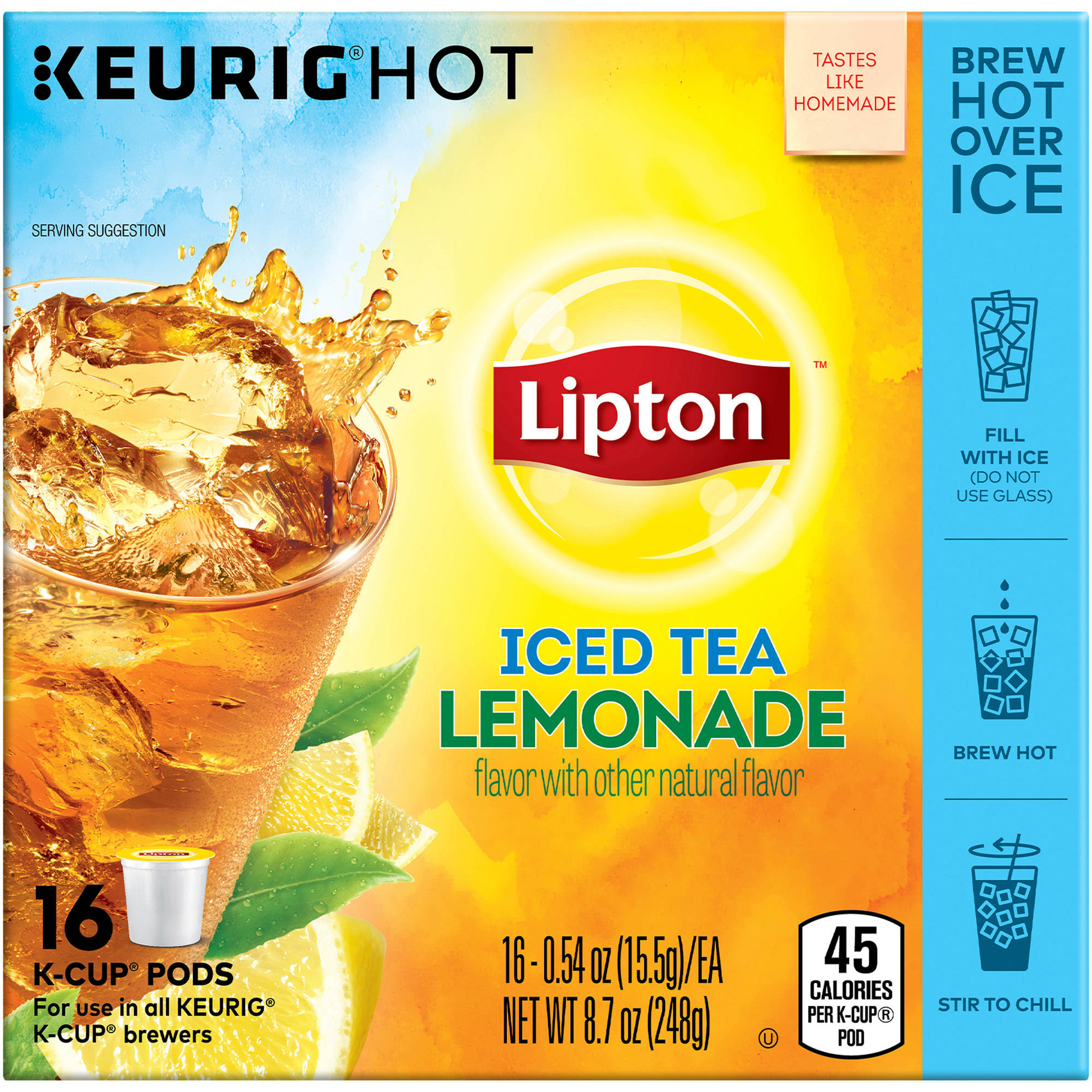 Lipton Lemonade Iced Tea K-Cup Pods, .54 oz, 16 count