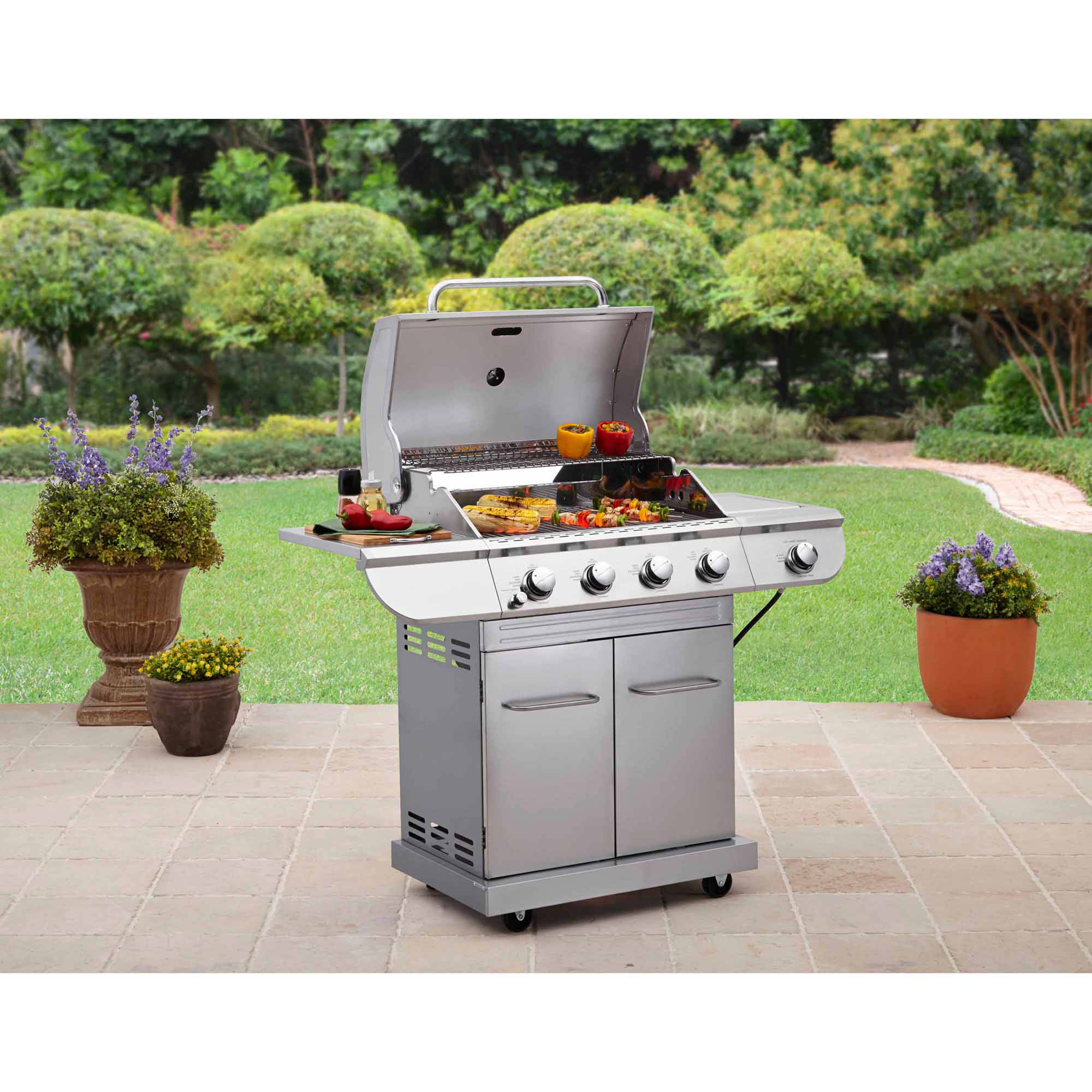 Better Homes and Gardens Stainless Steel 4-Burner Gas Grill with Side Burner