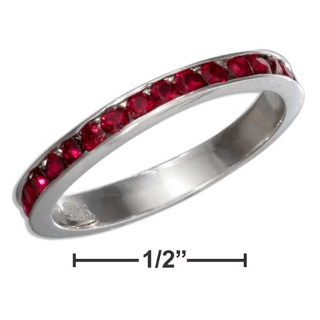 STERLING SILVER JULY BIRTHSTONE BRIGHT RED CRYSTALS ETERNITY BAND RING (Crystal Eternity Band)