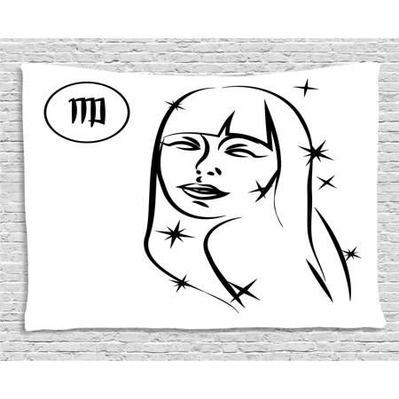 Zodiac Virgo Tapestry, Abstract Virgo Woman Portrait The Virgin with Stars and Symbol Monochrome, Wall Hanging for Bedroom Living Room Dorm Decor, 60W X 40L Inches, Black and White, by