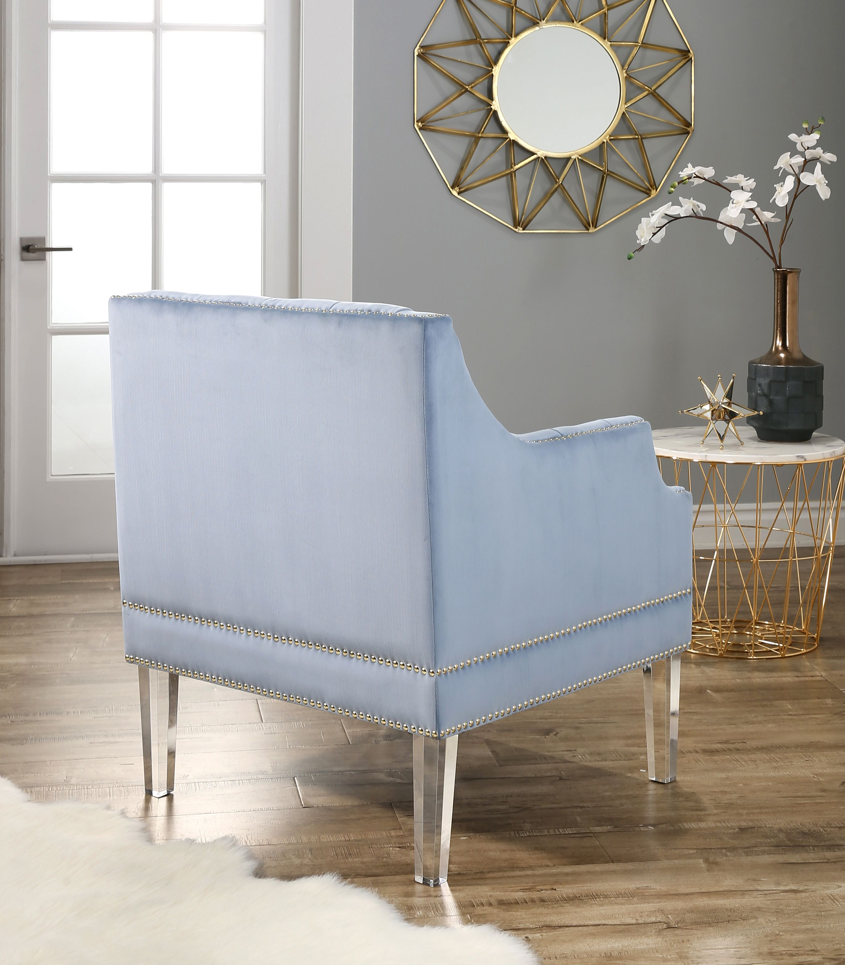 Devon Claire Oliver Tufted Velvet Chair With Acrylic Legs