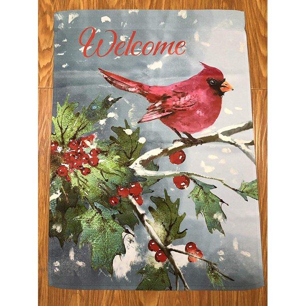 Welcome Christmas Cardinal House Flag 28 X 40 Large Blue Grey Double Sided Winter Garden Décor Walmart Com Walmart Com