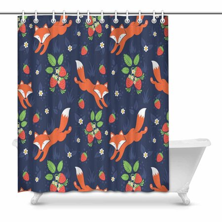 YUSDECOR cute Foxes and wild strawberries Bathroom Shower Curtain 60x72 inch - image 1 de 1
