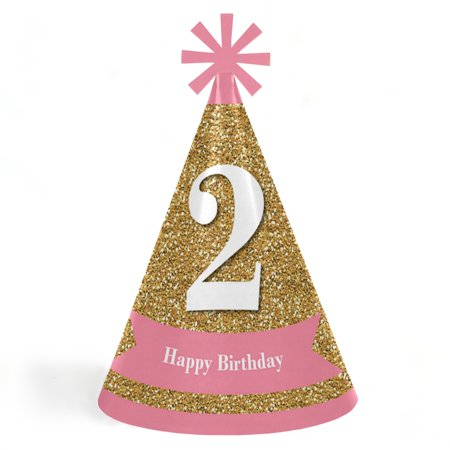 2nd Birthday Girl - Two Much Fun - Cone Happy Second Birthday Party Hats for Kids and Adults - Set of 8 (Standard Size) (Happy Birthday Kids)