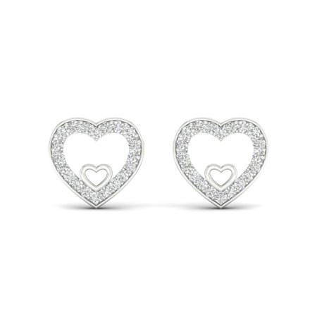 1/8Ct TDW Diamond 10K White Gold Heart Stud (10k Gold Diamond Earrings)
