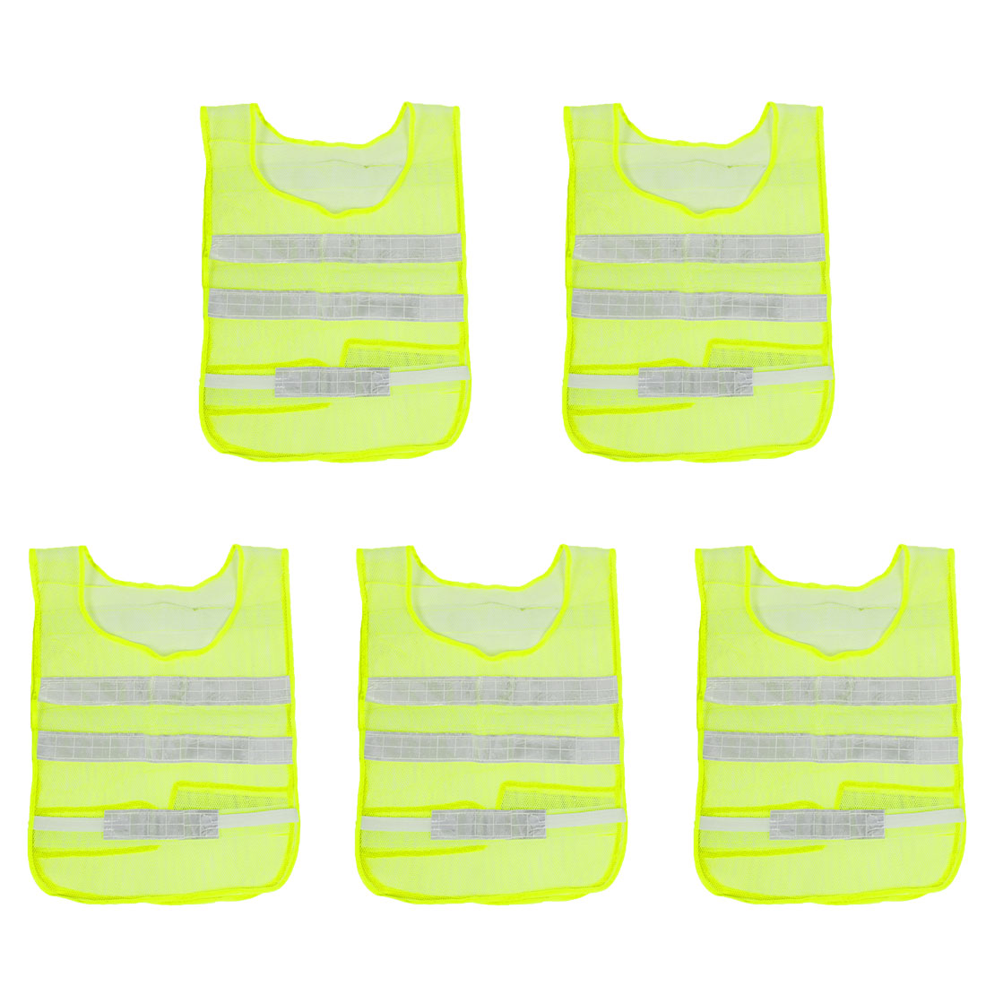 Unique Bargains 5 x High Visibility Traffic Worker Reflective  Vest Yellow Green