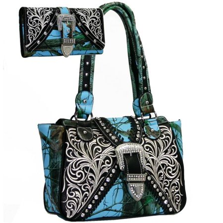 Gold Rush BT922SET-BLU-Cam Western Concealed Embroided Purse with Matching Wallet - Blue, Camouflage