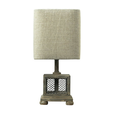Delambre Mini Table Lamp in Montauk Grey with Chicken Wire (Elk Mini Crystal Table Lamp)