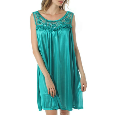 Venice Women's Silky Looking Nightgown w Sequins & Ribbon Roses 40N Medium Teal