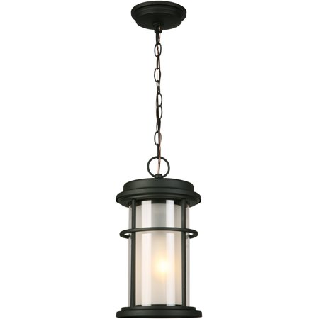 Outdoor Pendant 1 Light Fixture With Matte Black Finish Steel Material E26 8