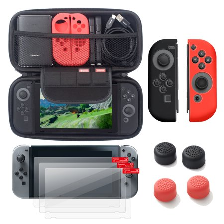 Insten Carrying Case Hard Shell Cover + 3-pack LCD Guard + Joy-Con Controller Skin [Left BLACK/Right RED] + Joy-Con Thumb Grip Stick Caps for Nintendo Switch Carry Case Lcd Guard