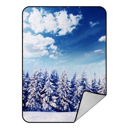 YKCG Beautiful Winter Landscape with Snow Covered Trees Christmas Snowflake Blanket Crystal Velvet Front and Lambswool Sherpa Fleece Back Throw Blanket - Lambswool Snowflake