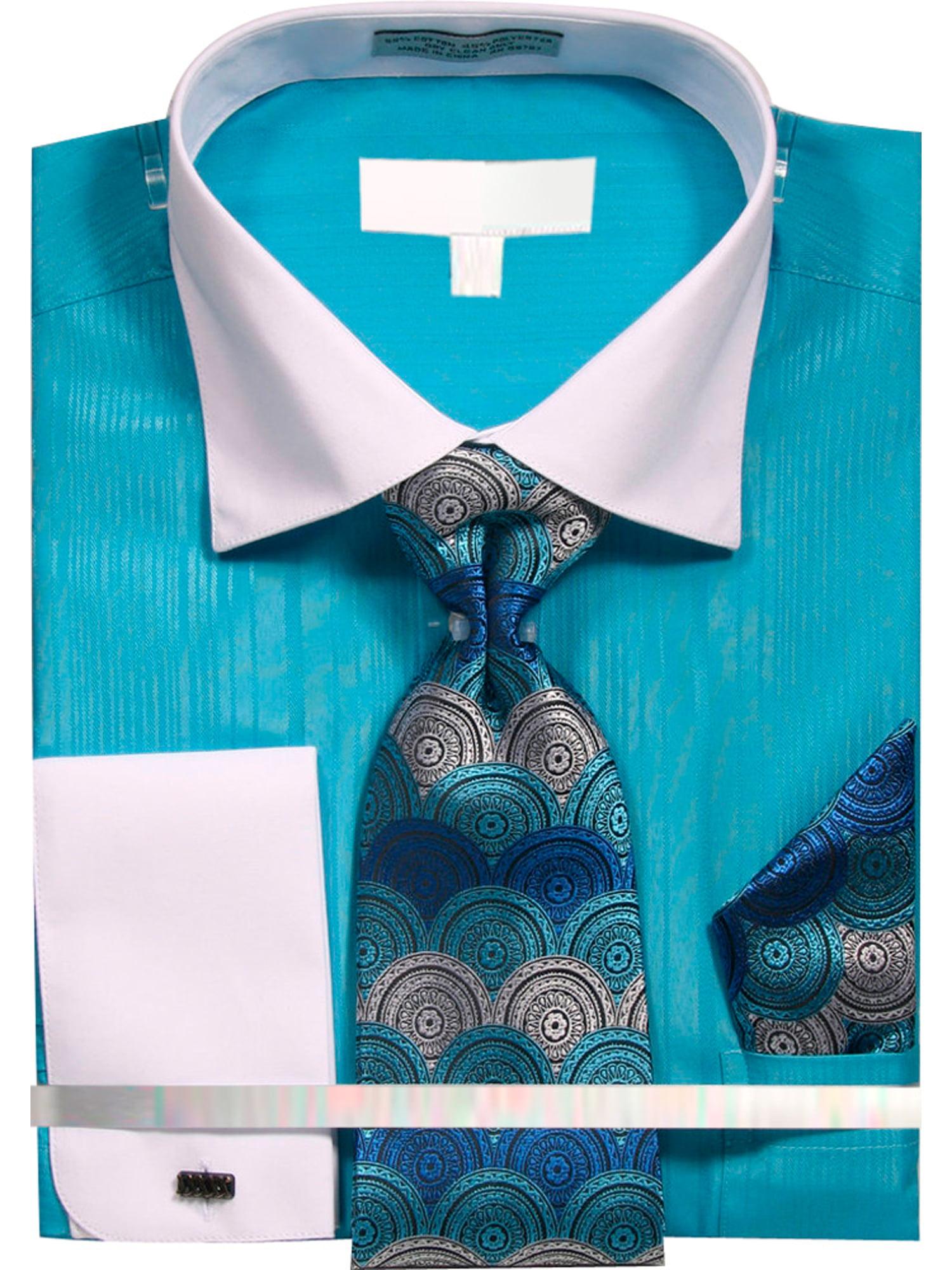 men's variegated satin stripe dress shirt with tie hanky and cufflinks