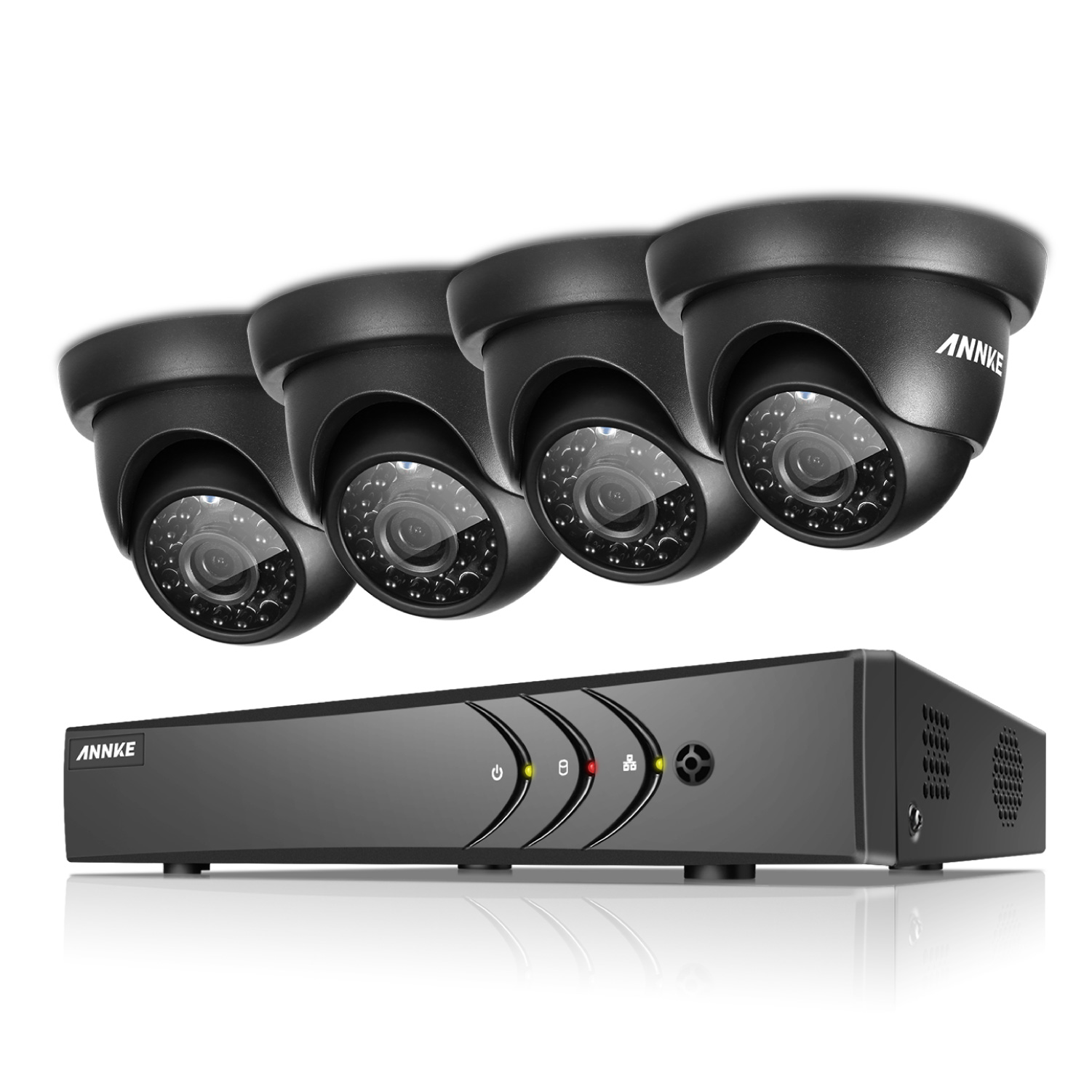 ANNKE 4CH Security System 1080N Video Recorder and 4Pcs Indoor/outdoor Weatherproof Surveillance Cameras-NO Hard Drive Disk