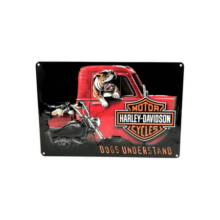 - Harley-Davidson Dogs Understand Embossed Tin Sign, 10.5 x 16.5 inches 2011241, Harley Davidson