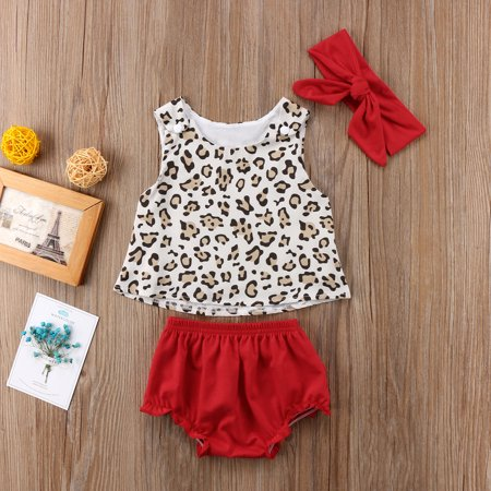 Leopard Band (Baby Girl Vest Shorts Outfits Leopard Sleeveless Vest Tops Floral Ruffles Short Outfits with Headband Clothes)