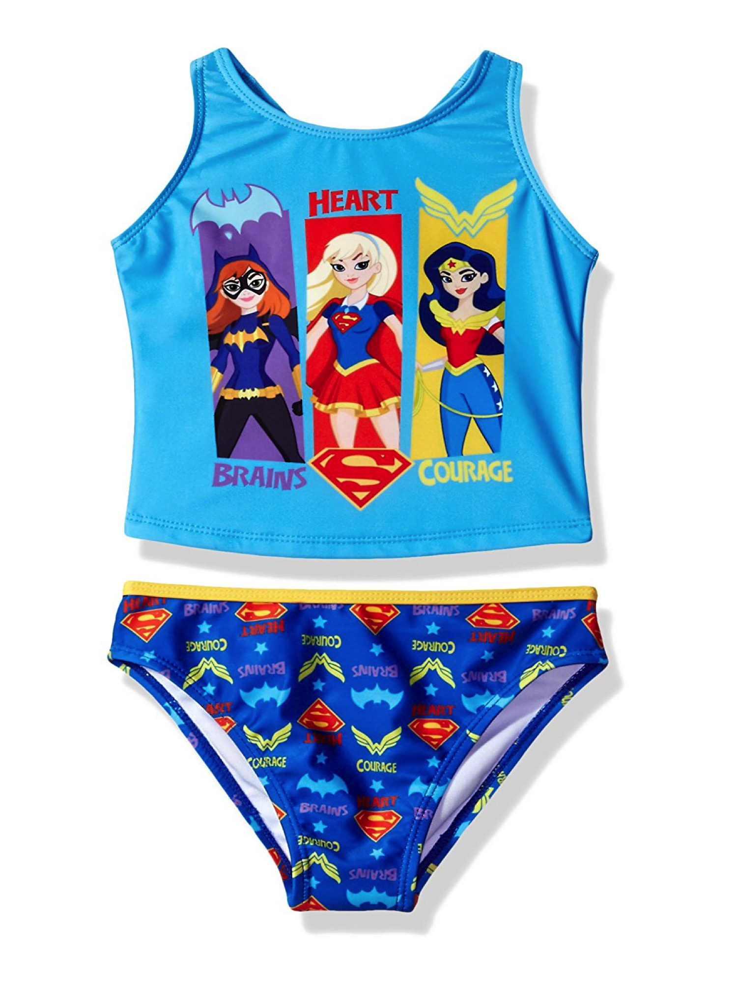 Warner Bros. Girls' DC Super Hero Tankini Two Piece Swimsuit