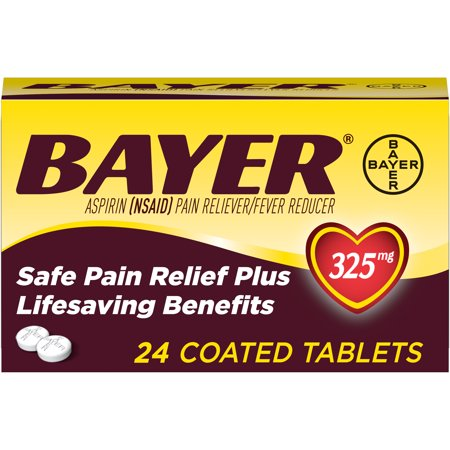 Genuine Bayer Aspirin Pain Reliever / Fever Reducer 325mg Coated Tablets, 24