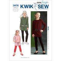 Kwik Sew Pattern Tunics and Leggings, XS (4, 5), S (6), M (7, 8), L (10), XL (12)