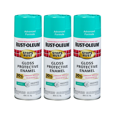 (3 Pack) Rust-Oleum Stops Rust Advanced Gloss Deep Mint Protective Enamel Spray Paint, 12