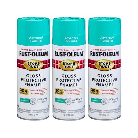 (3 Pack) Rust-Oleum Stops Rust Advanced Gloss Deep Mint Protective Enamel Spray Paint, 12 oz