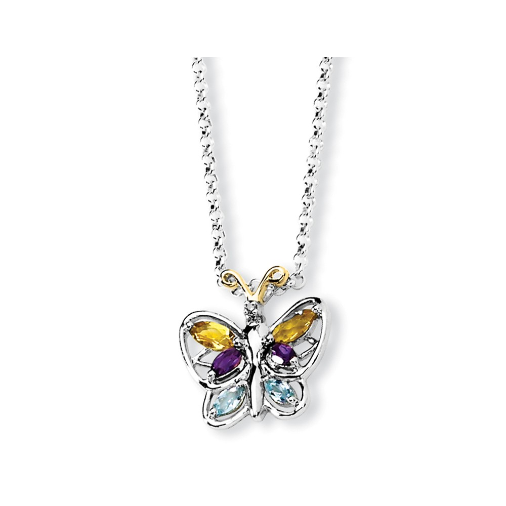 """925 Sterling Silver (0.005cttw) and Citrine  Amethyst Blue Topaz Butterfly Necklace -18"""" (18in x 1.5mm) by"""