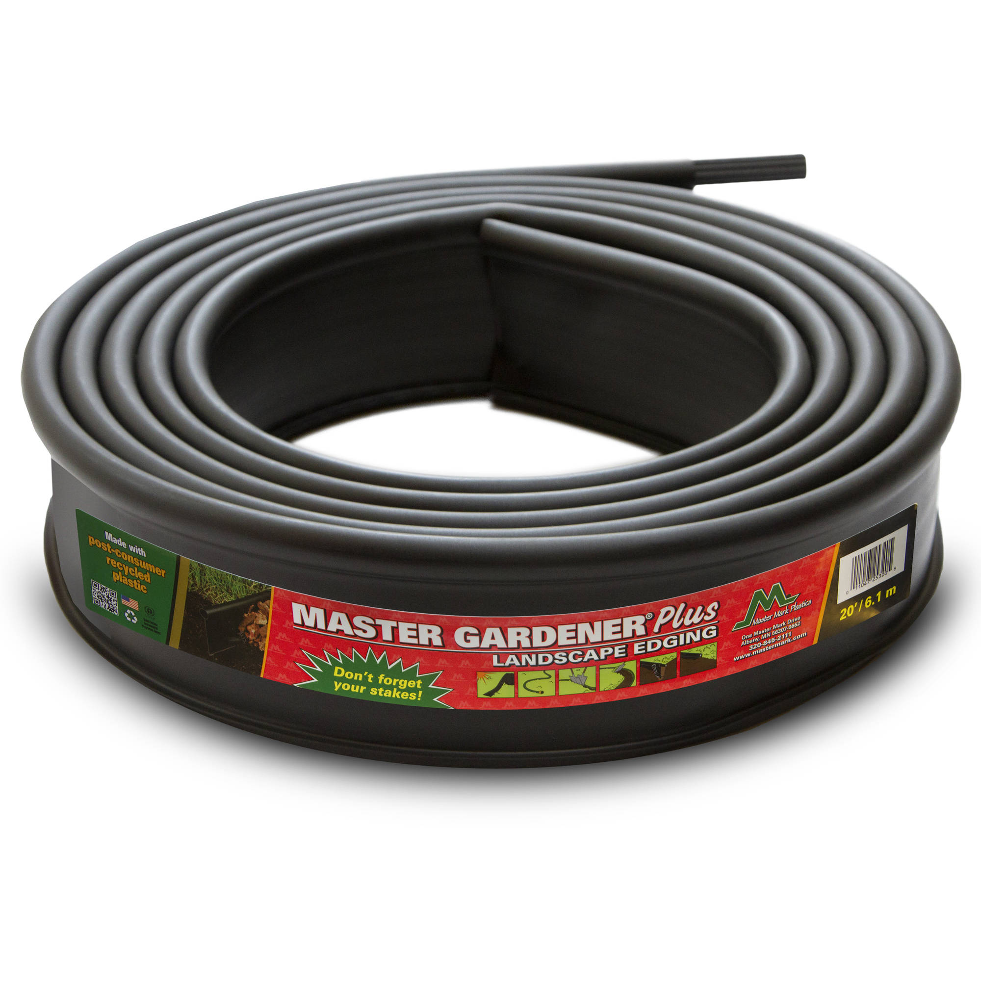 Master Gardener Plus Edging, 20' with 5 Stakes, Includes 1 Coupler