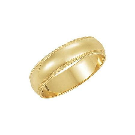 5mm Milgrain Edge Domed Light Band in 14k Yellow - 14k Yellow Gold Milgrain Edge