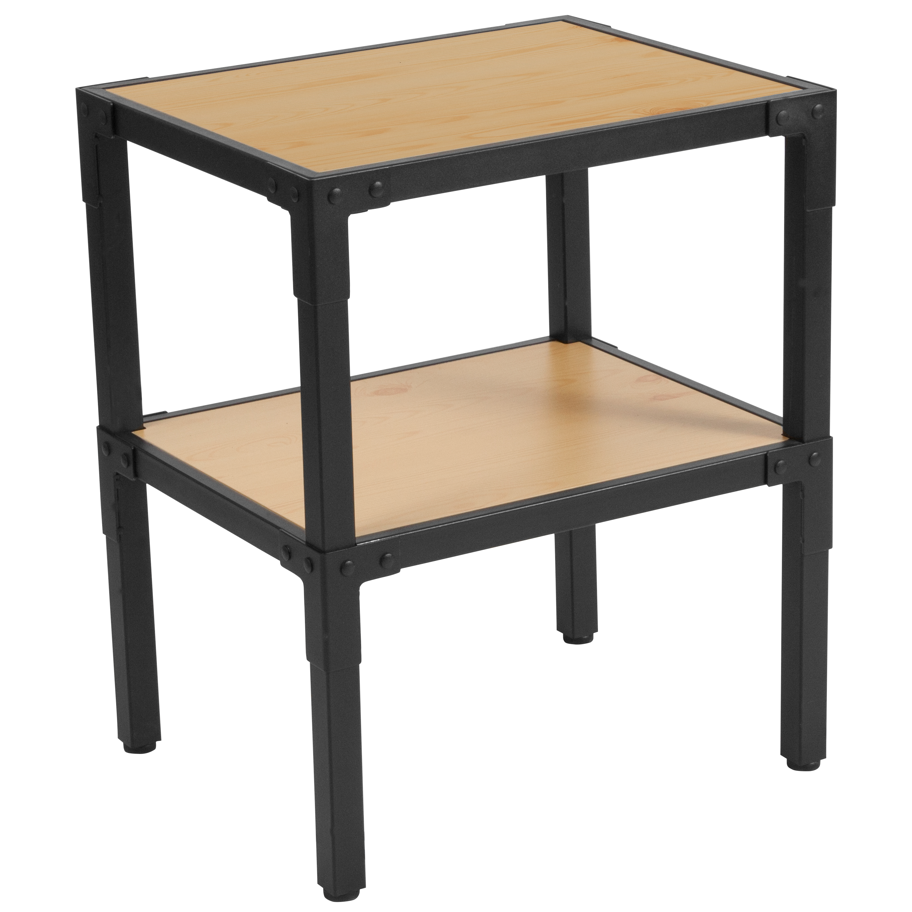 Flash Furniture Holmby Bedroom Collection Nightstand with Black Metal Legs in Knotted Pine Wood Grain Finish