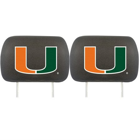 FANMATS NCAA University of Miami Hurricanes Polyester Head Rest Cover (Set of 2) - image 3 de 3