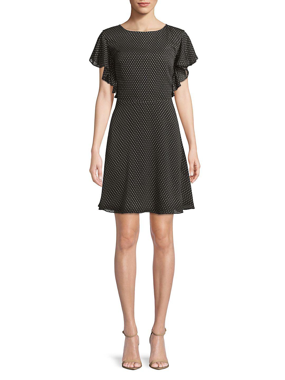 Polka Dot-Print A-Line Dress