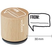 """Woodies Mounted Rubber Stamp 1.35""""-From:"""