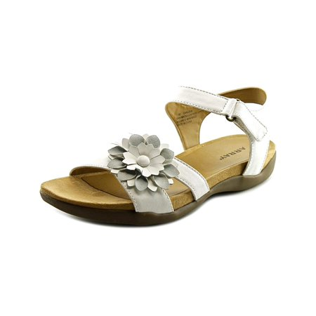 Array Womens Sangria Leather Open Toe Casual Ankle Strap, White, Size -