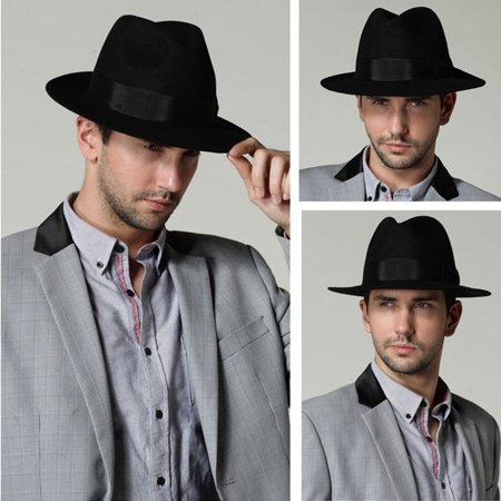 Old Gangster Hats (Hippie Unisex Men Black Jazz Wool Trilby Bowler Fedora Panama Hat Gangster)