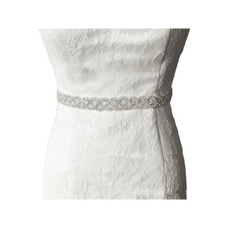 Vintage Bridal Handmade Ribbon Rhinestone Pearl Crystal Wedding Dress Belt Sash ()