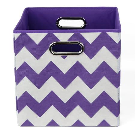Modern Littles Color Pop Folding Storage Bin, Purple Chevron (Purple Storage Bins)