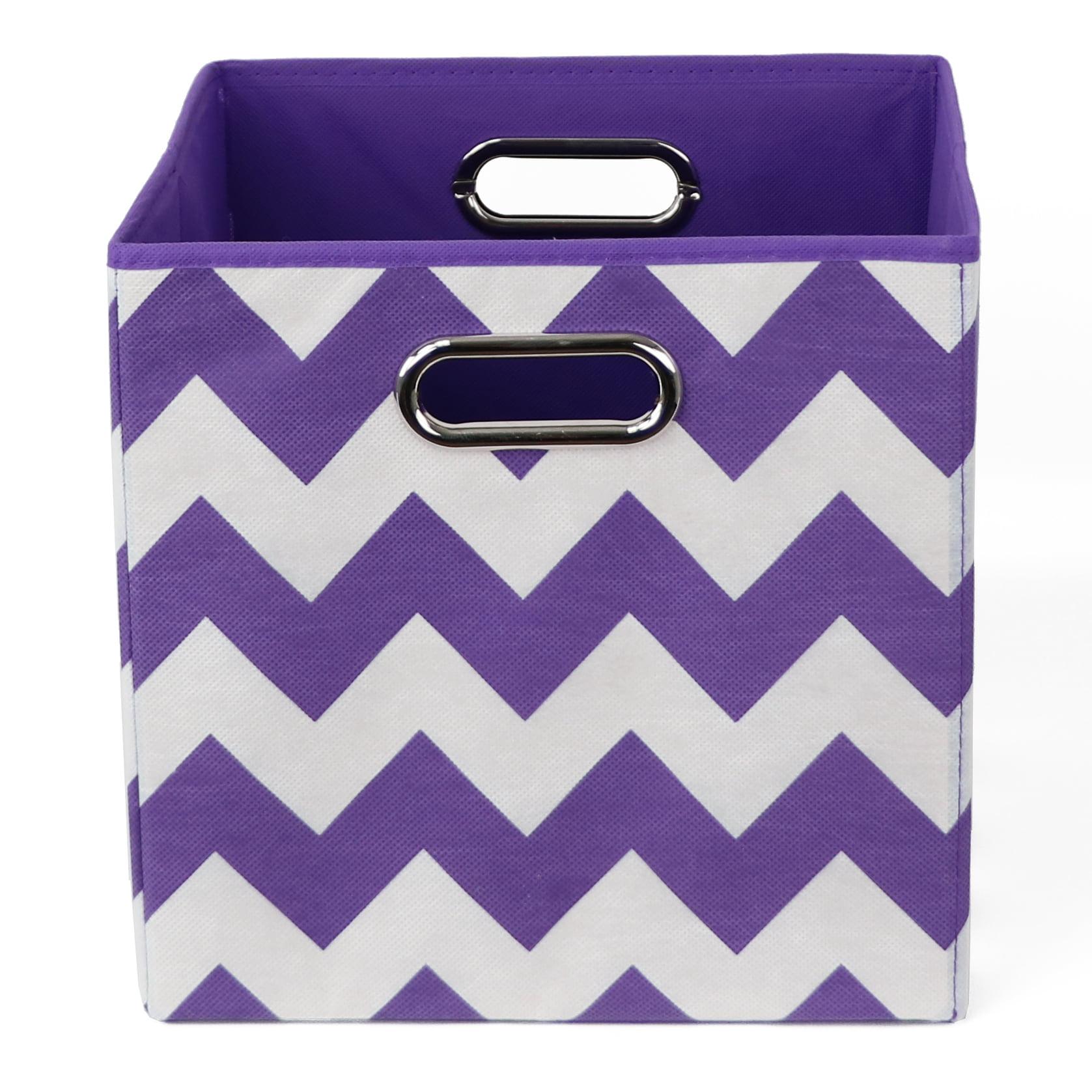 Modern Littles Color Pop Folding Storage Bin, Purple Chevron