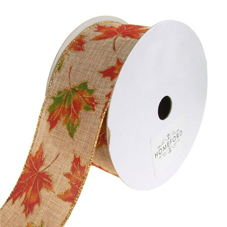 Autumn Leaves Fall Printed Linen Wired Ribbon, Natural, 2-1/2-Inch, 20 Yards ()