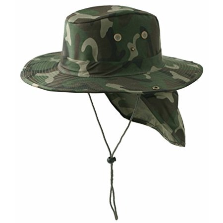 SAFARI Boonie Green Woodland Camouflage Neck Flap Chin Strap Fishing Bucket Hat Outdoors (Green Camouflage, Medium)](Camo Bucket Hats)