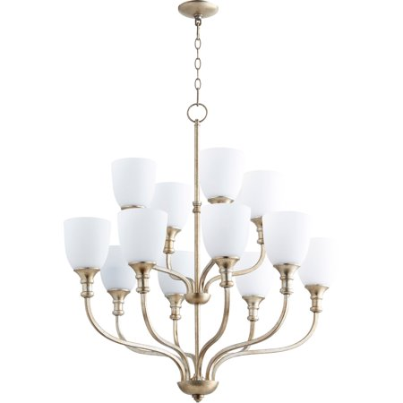 Chandeliers 12 Light With Aged Silver Leaf Finish Satin Opal Glass Medium Base Bulbs 34 inch 720 Watts
