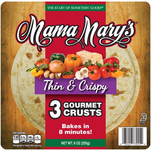 "Mama Mary's 7"" Thin & Crispy Gourmet Pizza Crust, 3 count, 9 oz"