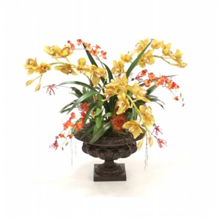 Distinctive Designs International 9803 Orchid Garden in a Large Leather Ribbed Urn ()