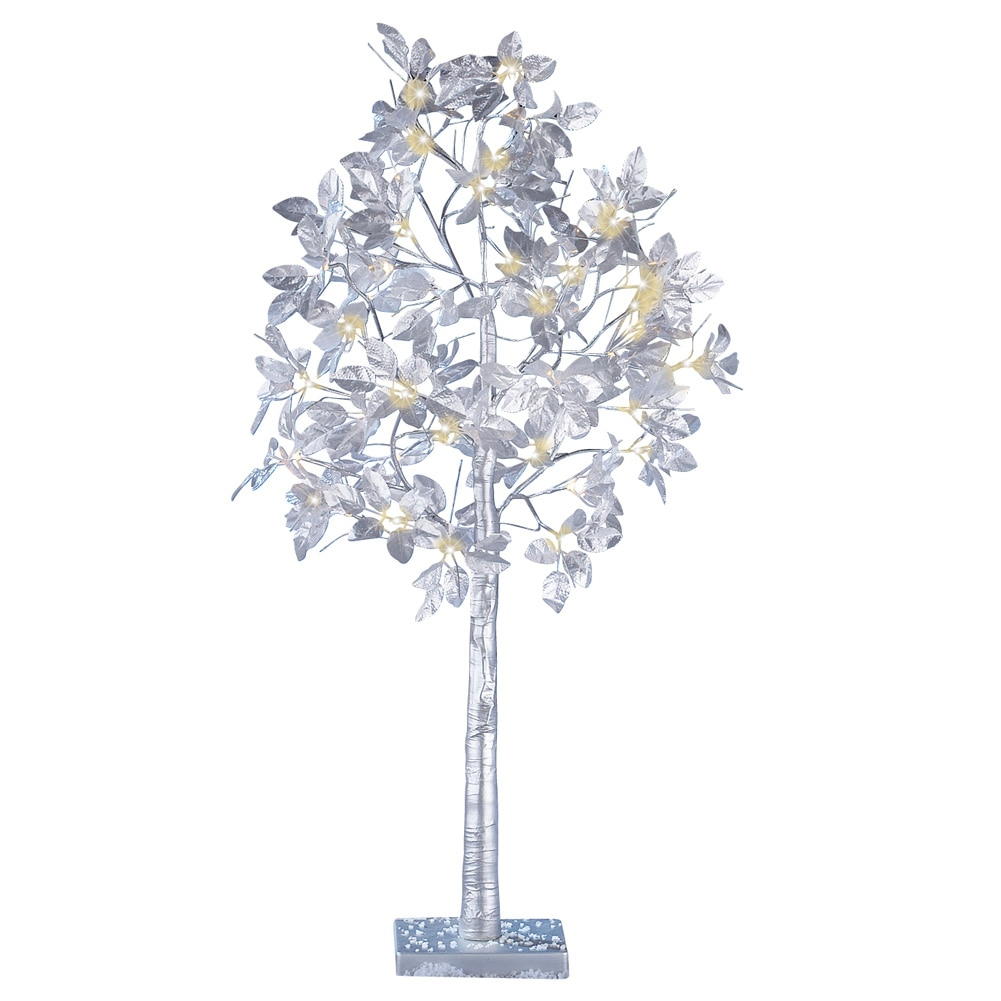 Silver Leaf Lighted Tree Outdoor Christmas Decoration