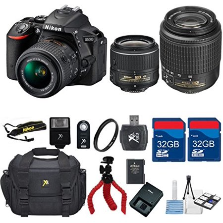 Nikon D5500 Dx Dslr   18 55 Vrlens   55 200 Dx Zoom Lens   Top Value Bundle   International Version  No Warranty