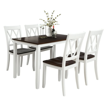 5 Piece Dining Room Table Set, Modern Dining Table Sets with Dining Chairs for 4, Heavy Duty Wooden Rectangular Kitchen Table Set with White Finish for Home, Kitchen, Living Room,