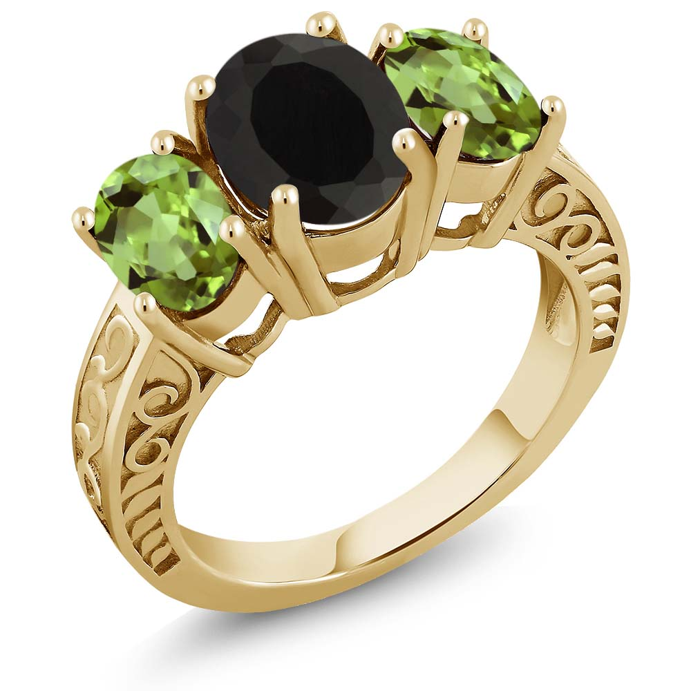 3.60 Ct Oval Black Onyx Green Peridot 18K Yellow Gold Plated Silver Ring