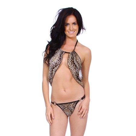 39798b05aea BASILICA - New Sexy Women s Lingerie Dress Leopard Bikini Open Bust  Crotchless Teddies - Walmart.com