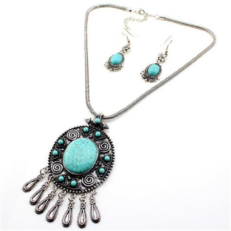 Tibet Silver Tribal Turquoise Blue Bead Pendant Chain Necklace Earrings Set ()