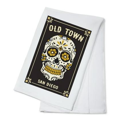 - Old town San Diego - Day of the Dead - Sugar Skull & Flower Pattern (Black & Gold) - Lantern Press Artwork (100% Cotton Kitchen Towel)
