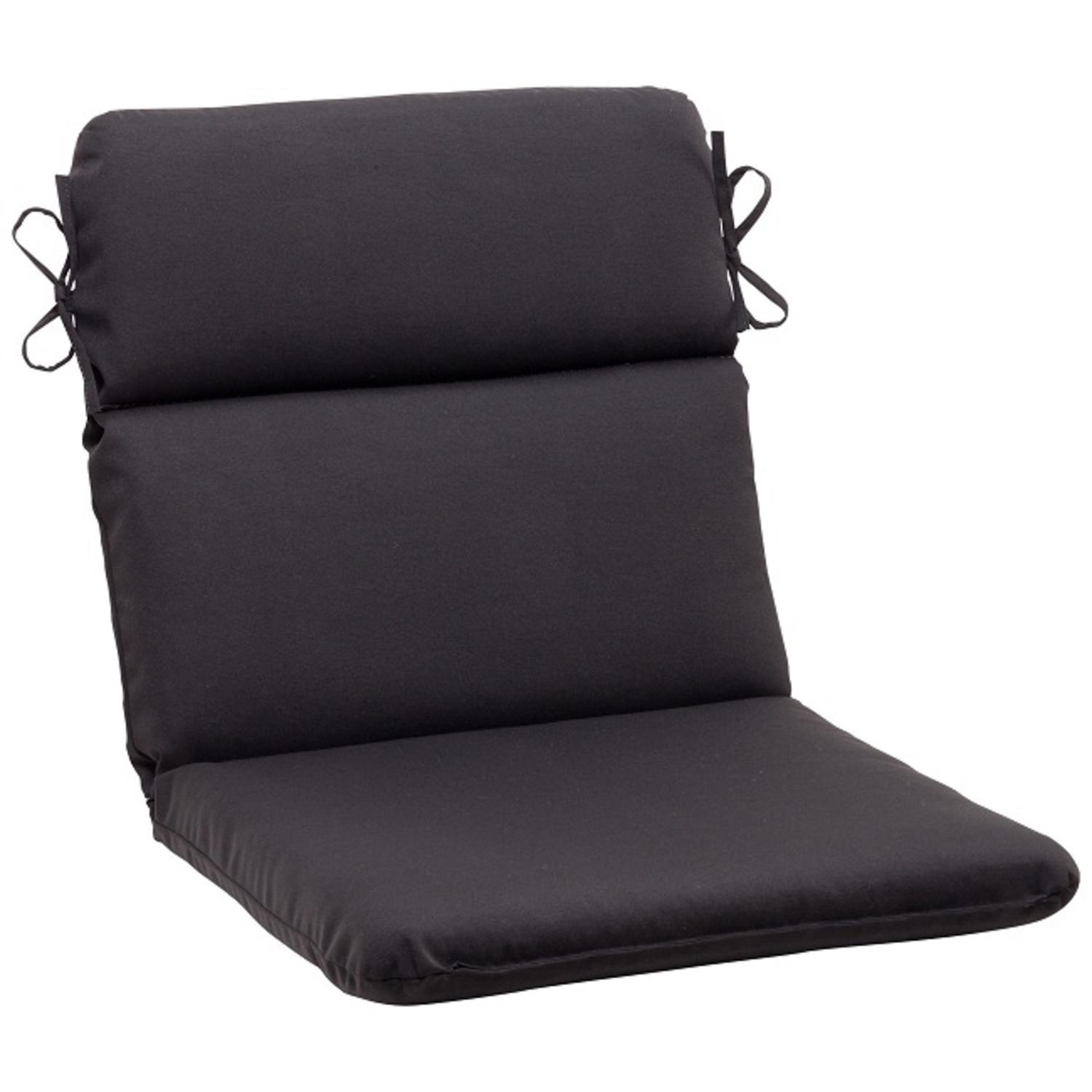"""40.5"""" Solid Dark Gray Outdoor Patio Rounded Chair Cushion with Ties"""
